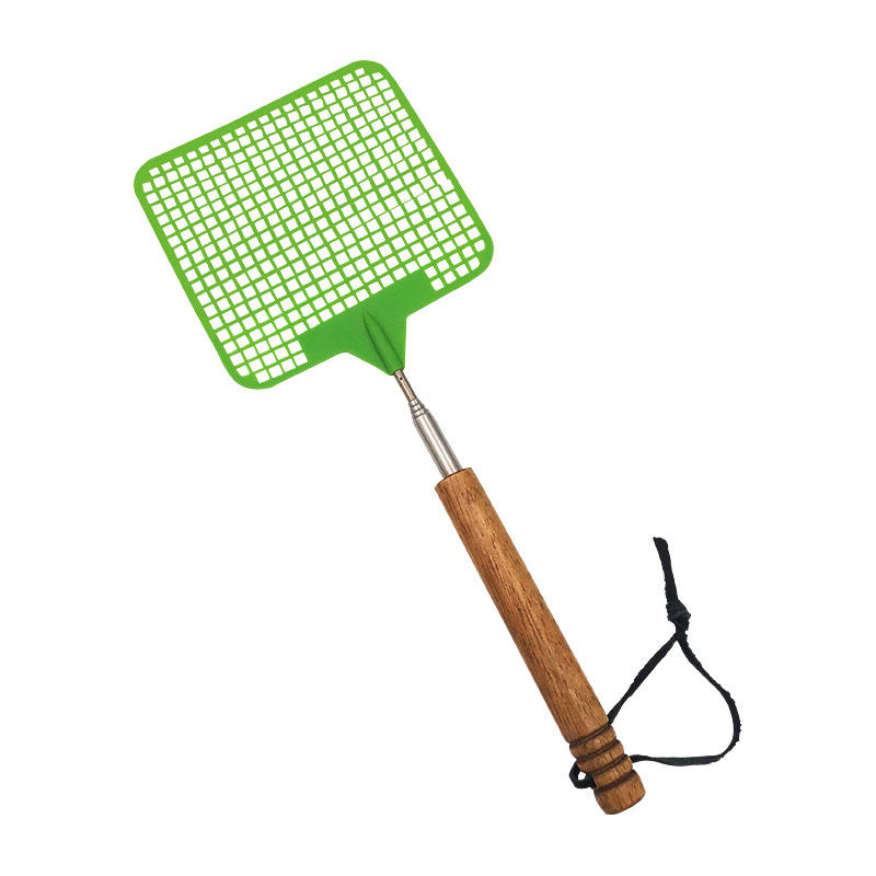 Mini Stainless Steel Telescopic Fly Swatter with Wooden Handle