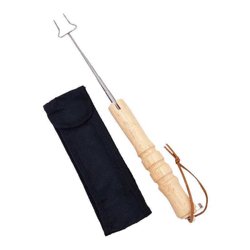 Extendable Stainless Steel BBQ Grill Tool with Wooden Handle and Hang Rope