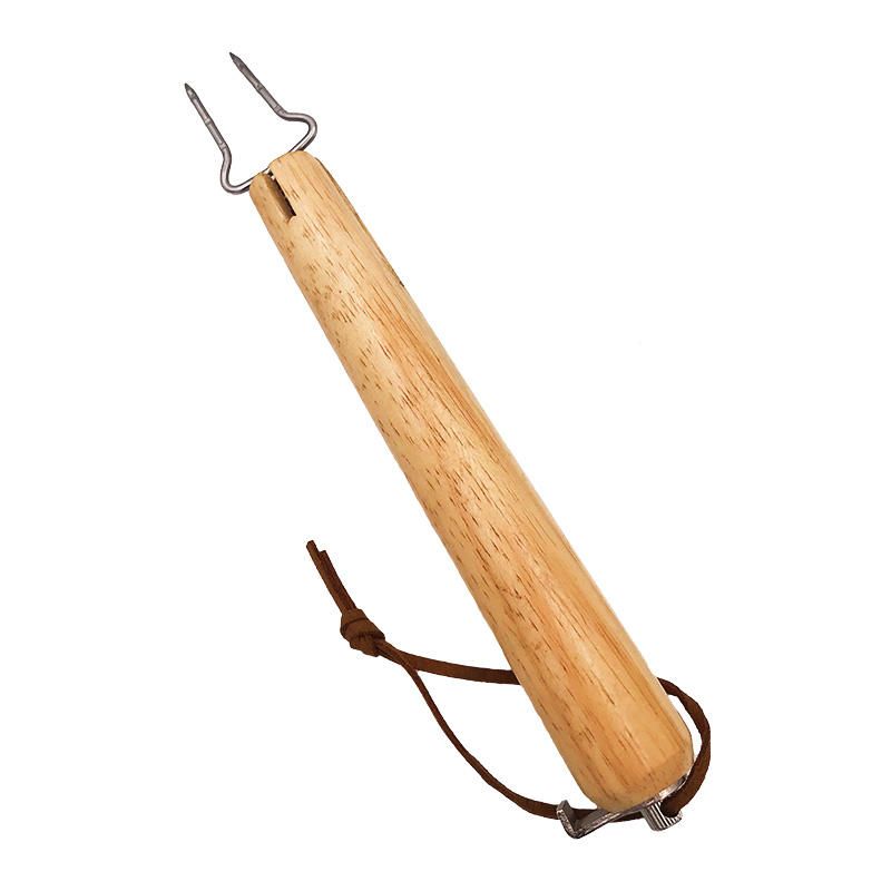 Extendable Stick Barbecue Stainless Steel BBQ Grill Tool with Wooden Handle and Hang Rope